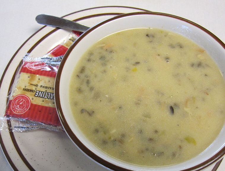 Large bowl of home-made wild rice soup