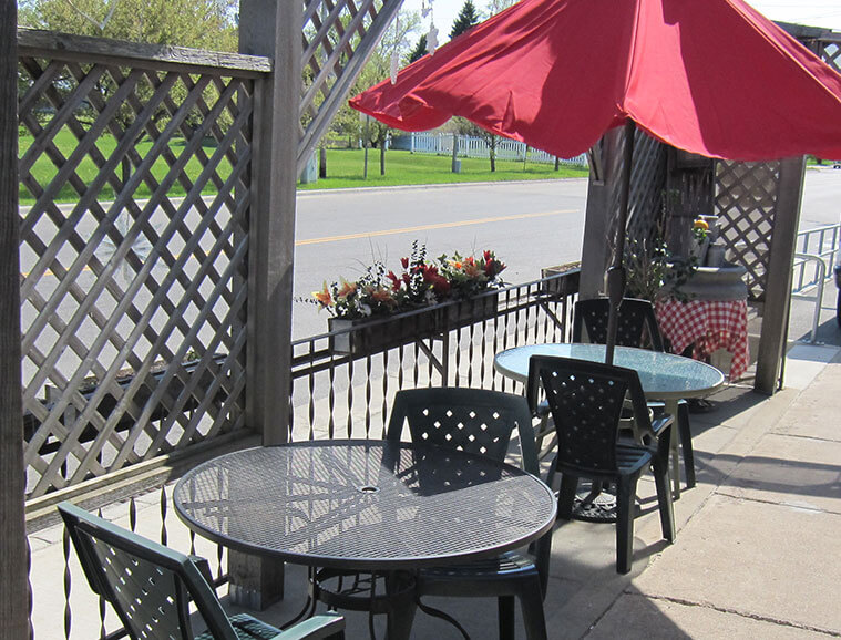 Patio seating at The Old Creamery Cafe in Rice, MN