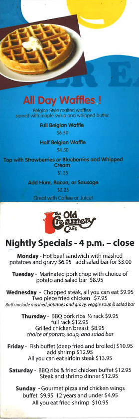 All Day Waffles Menu & Nightly Specials Menu - Old Creamery Cafe
